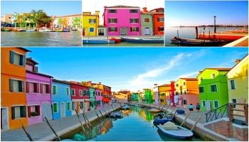 kolorowe domy i koronki z burano we włoszech